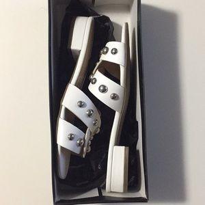 White studded slide sandals NWT